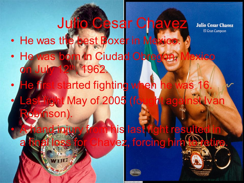 Julio Cesar Chavez He was the best Boxer in Mexico.