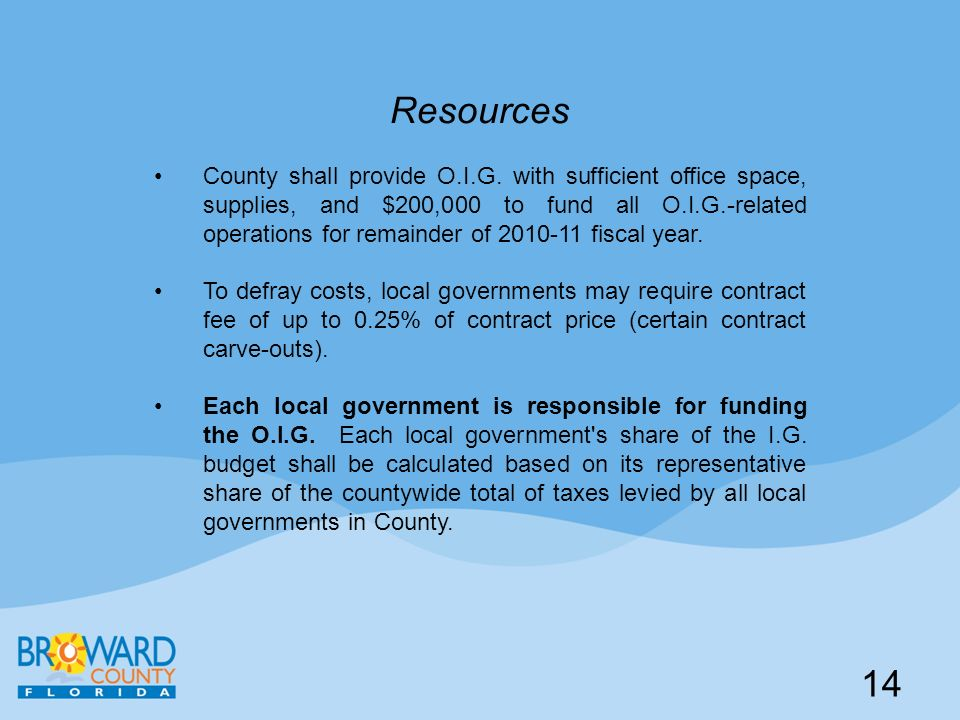 Resources County shall provide O.I.G. with sufficient office space, supplies, and $200,000 to fund all O.I.G.-related operations for remainder of 2010