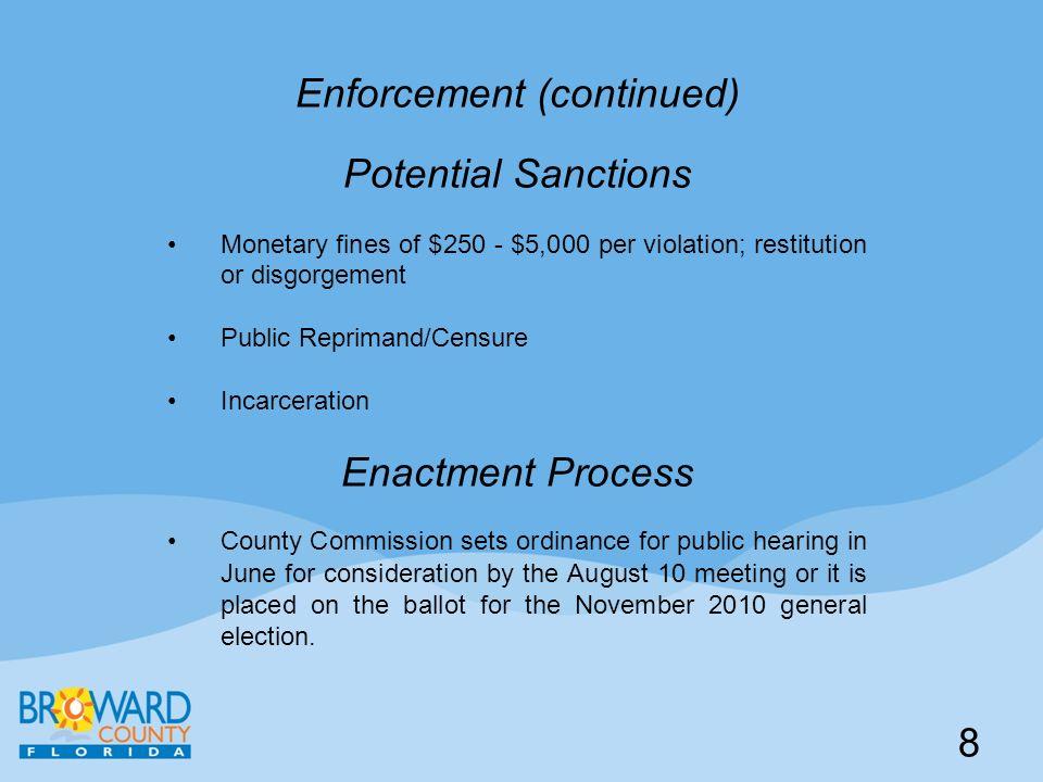 Enforcement (continued) Potential Sanctions Monetary fines of $250 - $5,000 per violation; restitution or disgorgement Public Reprimand/Censure Incarc