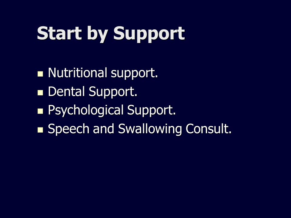 Start by Support Nutritional support. Nutritional support. Dental Support. Dental Support. Psychological Support. Psychological Support. Speech and Sw
