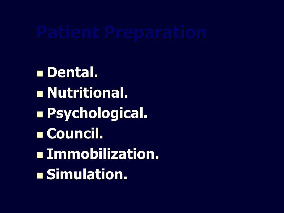 Patient Preparation Dental. Dental. Nutritional. Nutritional. Psychological. Psychological. Council. Council. Immobilization. Immobilization. Simulati