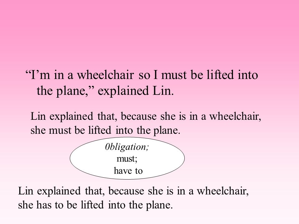 Im in a wheelchair so I must be lifted into the plane, explained Lin. Lin explained that, because she was in a wheelchair, she had to be lifted into t