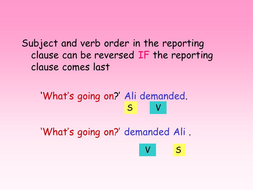 The two clauses – who said + what they said – can occur in any order, i.e. direct speech: reporting someones wording Whats going on? Ali demanded. Ali