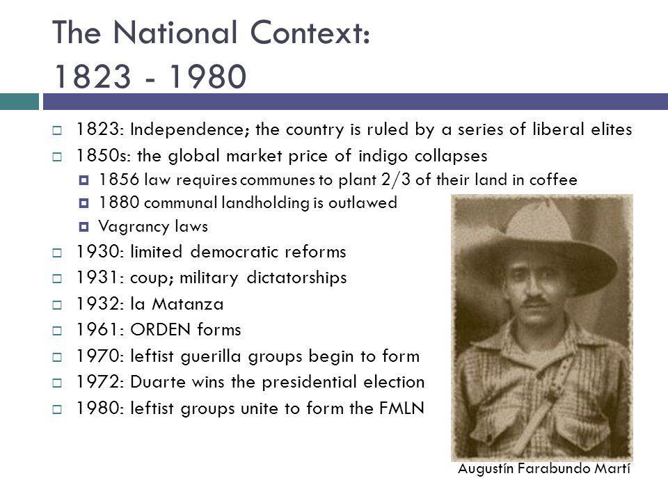 The National Context: 1823 - 1980 1823: Independence; the country is ruled by a series of liberal elites 1850s: the global market price of indigo coll