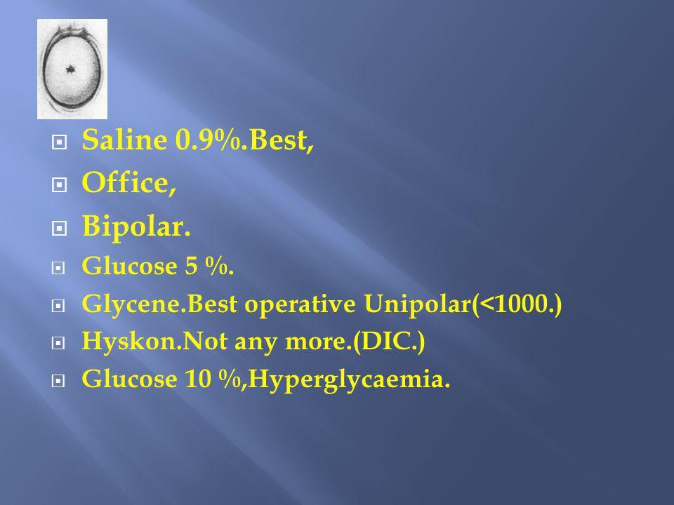 Saline 0.9%.Best, Office, Bipolar. Glucose 5 %. Glycene.Best operative Unipolar(<1000.) Hyskon.Not any more.(DIC.) Glucose 10 %,Hyperglycaemia.