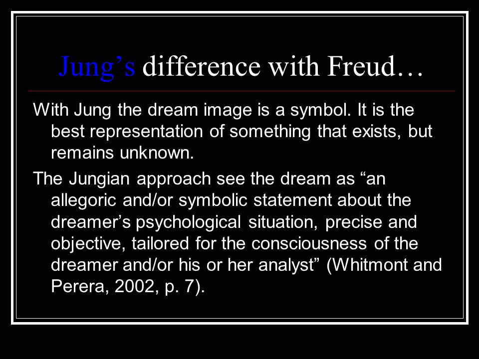 Jungs difference with Freud… With Jung the dream image is a symbol. It is the best representation of something that exists, but remains unknown. The J
