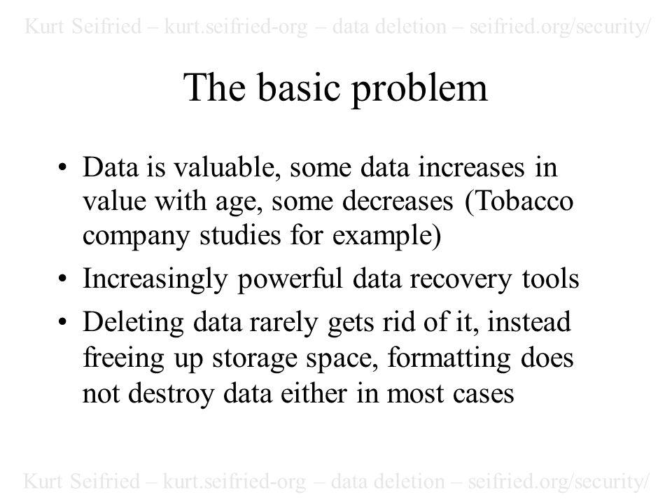 Kurt Seifried – kurt.seifried-org – data deletion – seifried.org/security/ Alternate Data Streams Few wiping programs properly wipe alternate data streams (e.g.