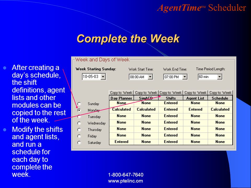 AgentTime Scheduler 1-800-647-7640 www.ptelinc.om Complete the Week After creating a days schedule, the shift definitions, agent lists and other modul