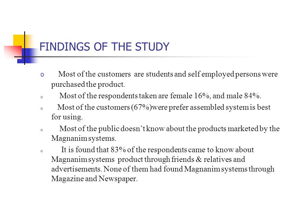 FINDINGS OF THE STUDY o Most of the customers are students and self employed persons were purchased the product. o Most of the respondents taken are f