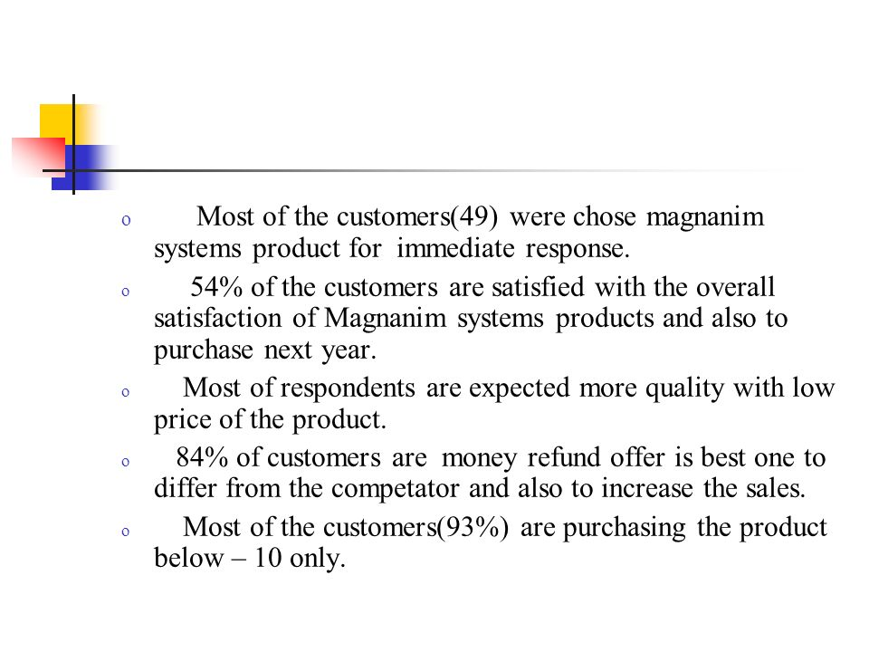 o It is found that customers are satisfied with quality,good product, price and not satisfied with the service of the Magnanim systems products.