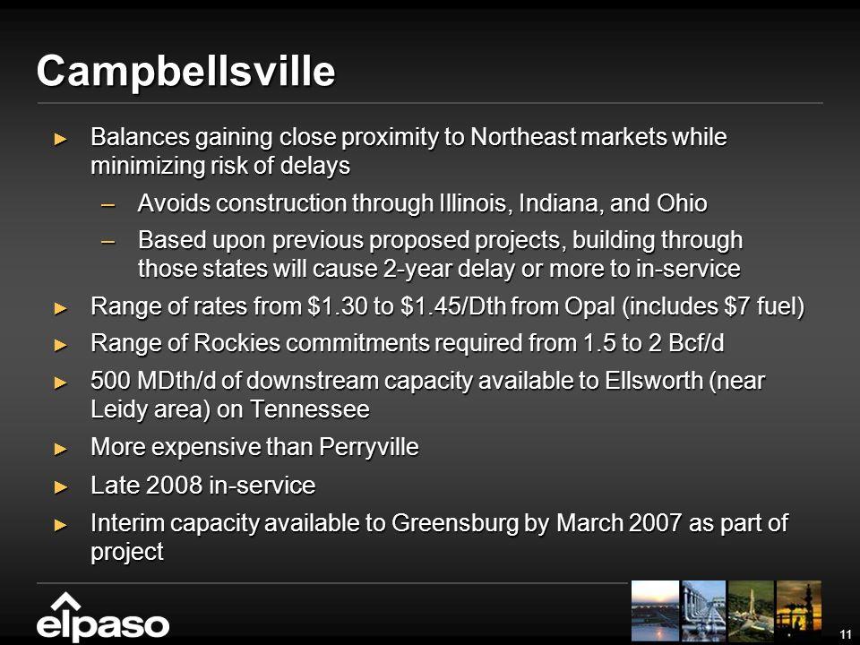 11 Campbellsville Balances gaining close proximity to Northeast markets while minimizing risk of delays Balances gaining close proximity to Northeast