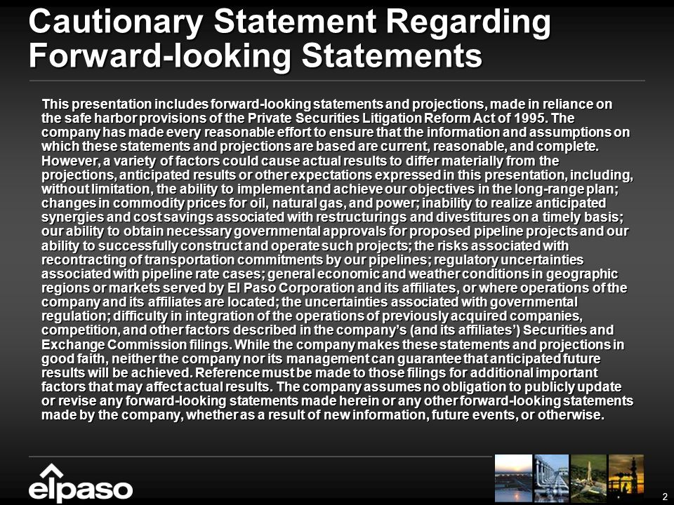 2 Cautionary Statement Regarding Forward-looking Statements This presentation includes forward-looking statements and projections, made in reliance on