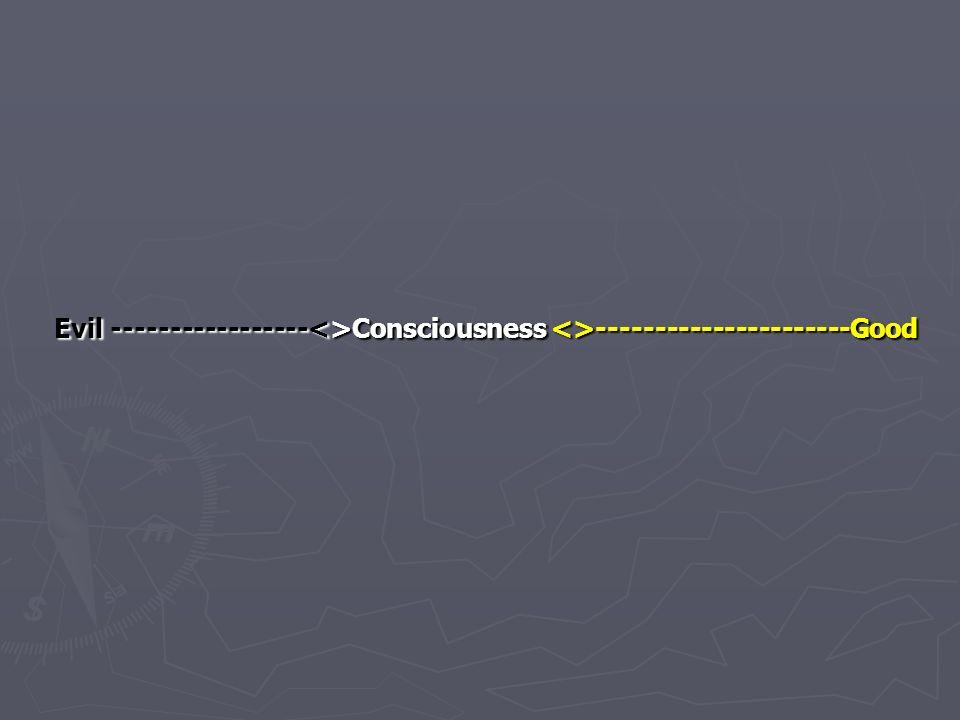 Evil -----------------<>Consciousness <>----------------------Good Evil -----------------<>Consciousness <>----------------------Good