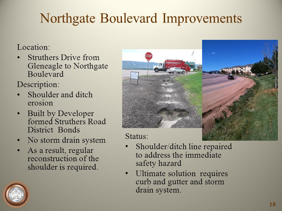 Northgate Boulevard Improvements Location: Struthers Drive from Gleneagle to Northgate Boulevard Description: Shoulder and ditch erosion Built by Deve