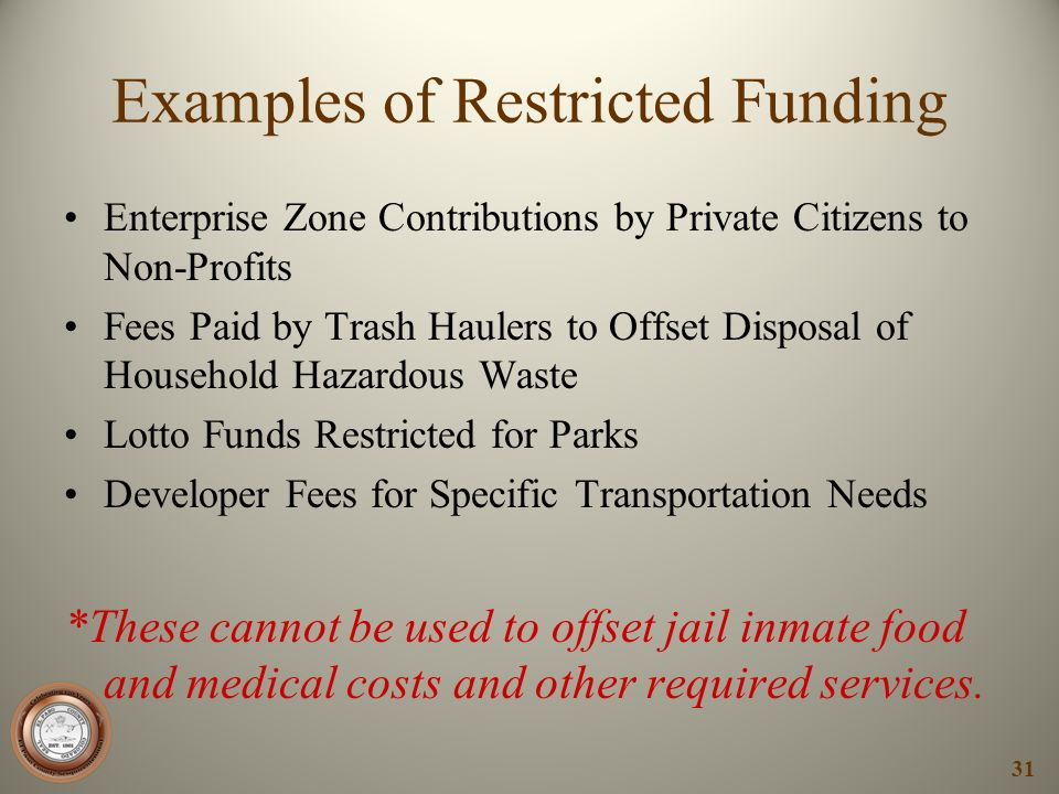 Examples of Restricted Funding Enterprise Zone Contributions by Private Citizens to Non-Profits Fees Paid by Trash Haulers to Offset Disposal of House