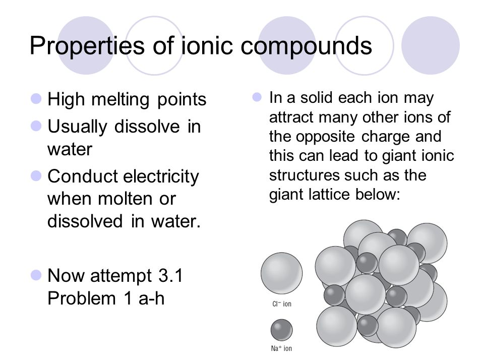 Properties of ionic compounds High melting points Usually dissolve in water Conduct electricity when molten or dissolved in water. Now attempt 3.1 Pro