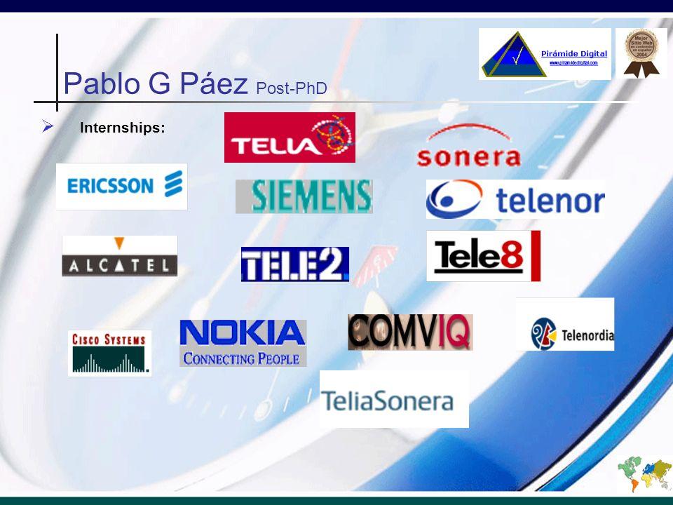Internships: Pablo G Páez Post-PhD
