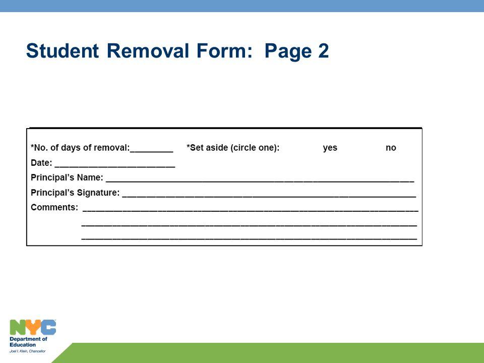 Student Removal Form: Page 2