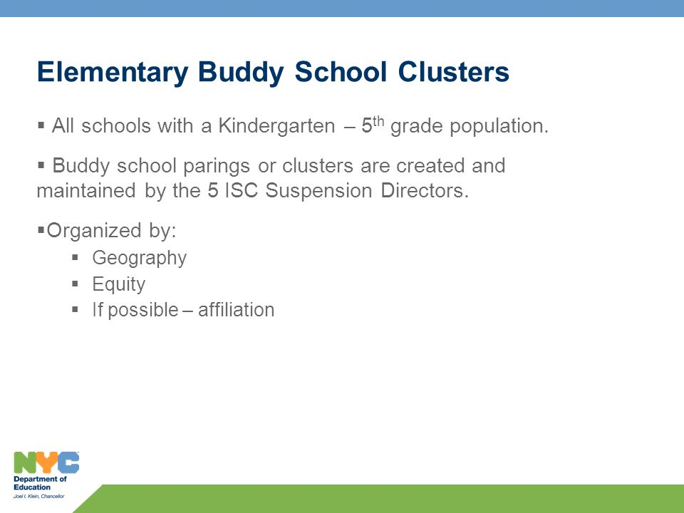 Elementary Buddy School Clusters All schools with a Kindergarten – 5 th grade population.