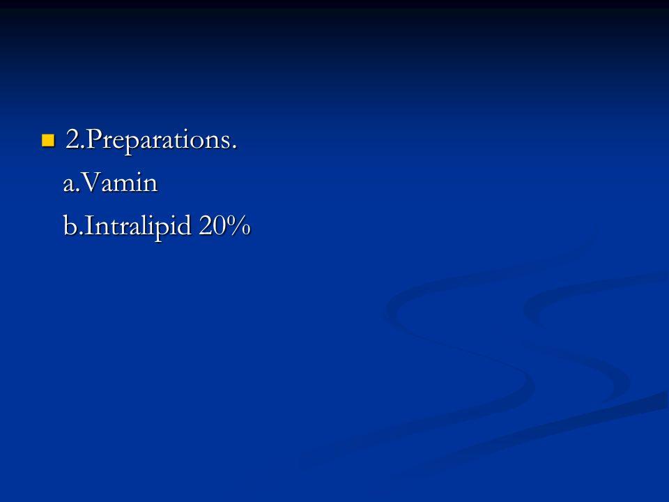 2.Preparations. 2.Preparations. a.Vamin a.Vamin b.Intralipid 20% b.Intralipid 20%