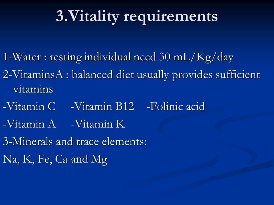 3.Vitality requirements 1-Water : resting individual need 30 mL/Kg/day 2-VitaminsA : balanced diet usually provides sufficient vitamins -Vitamin C -Vi