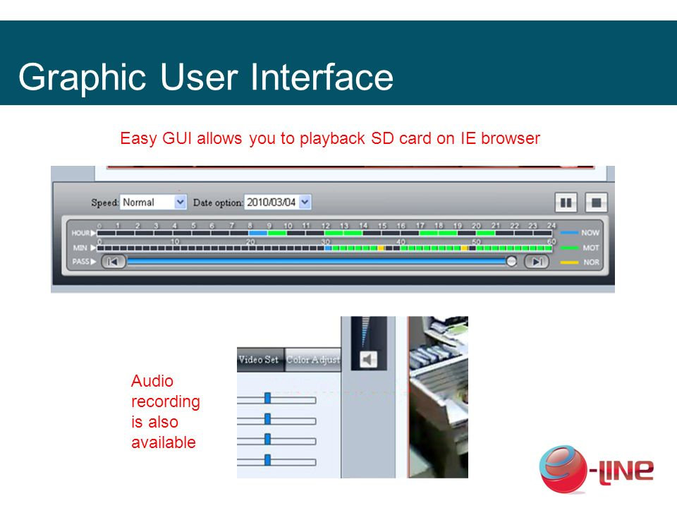 Graphic User Interface Easy GUI allows you to playback SD card on IE browser Audio recording is also available