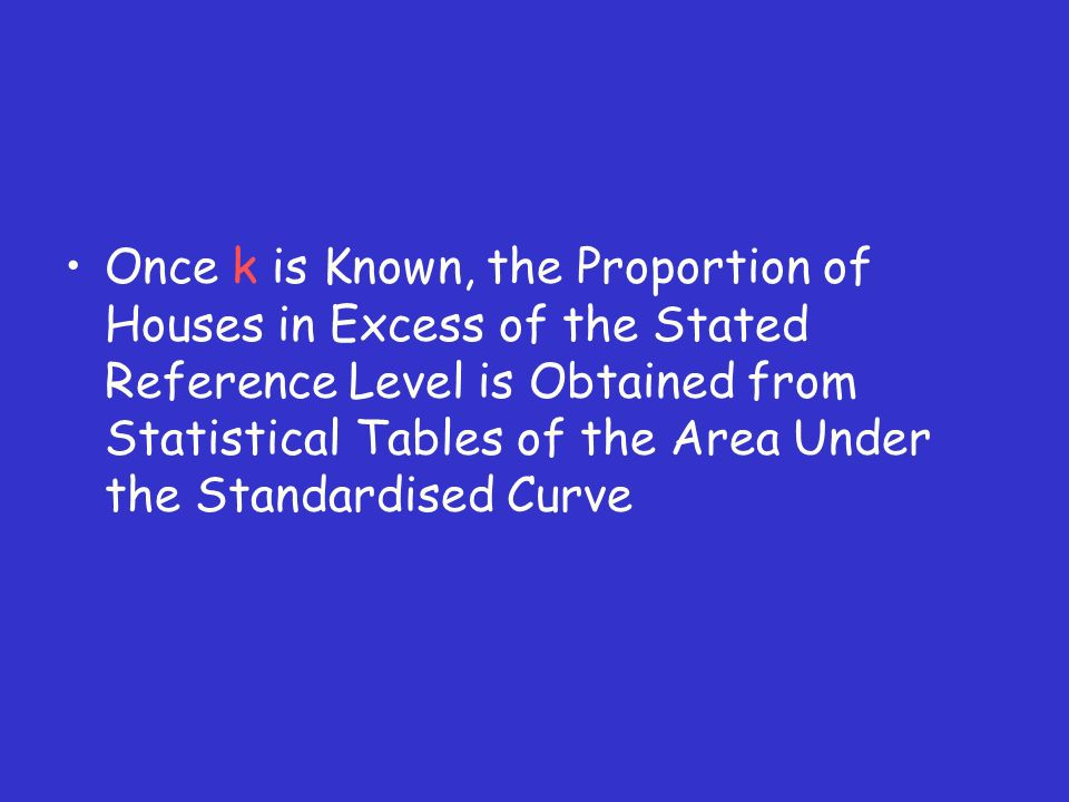 Once k is Known, the Proportion of Houses in Excess of the Stated Reference Level is Obtained from Statistical Tables of the Area Under the Standardised Curve