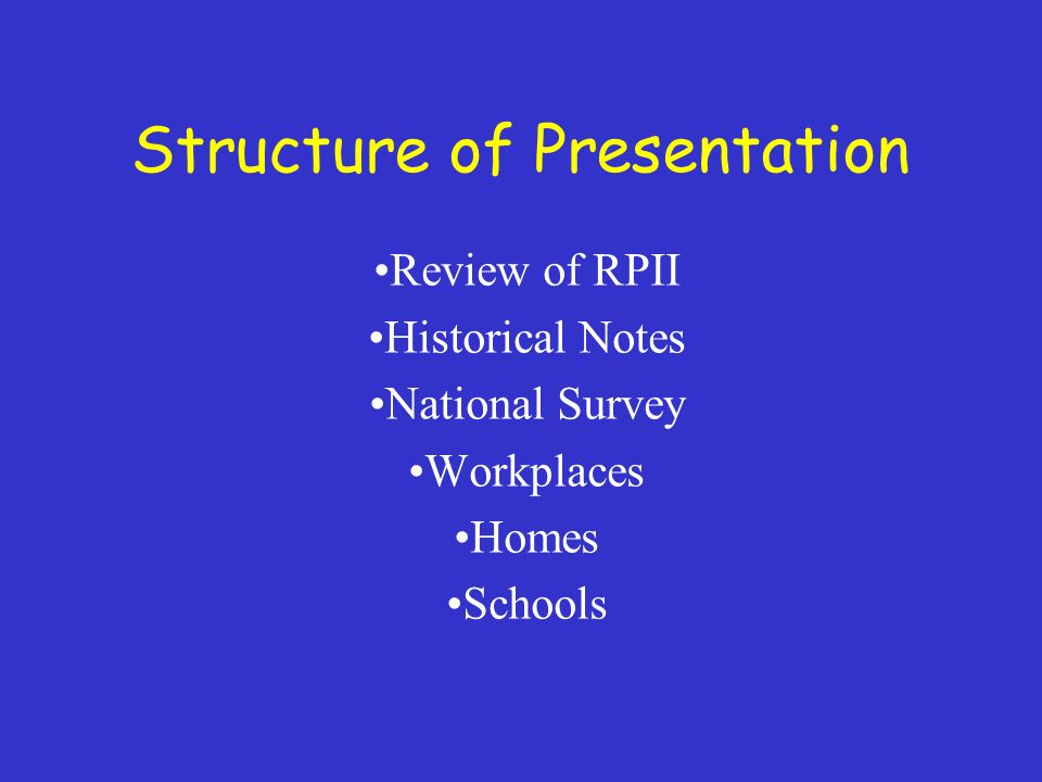 Structure of Presentation Review of RPII Historical Notes National Survey Workplaces Homes Schools