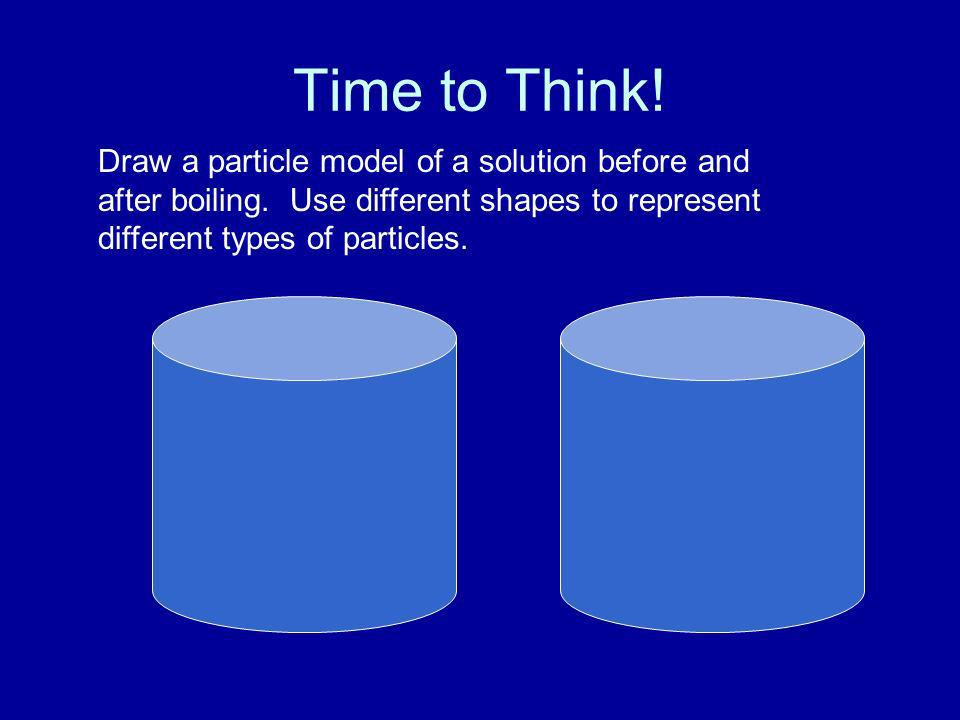 Time to Think! Draw a particle model of a solution before and after boiling. Use different shapes to represent different types of particles.