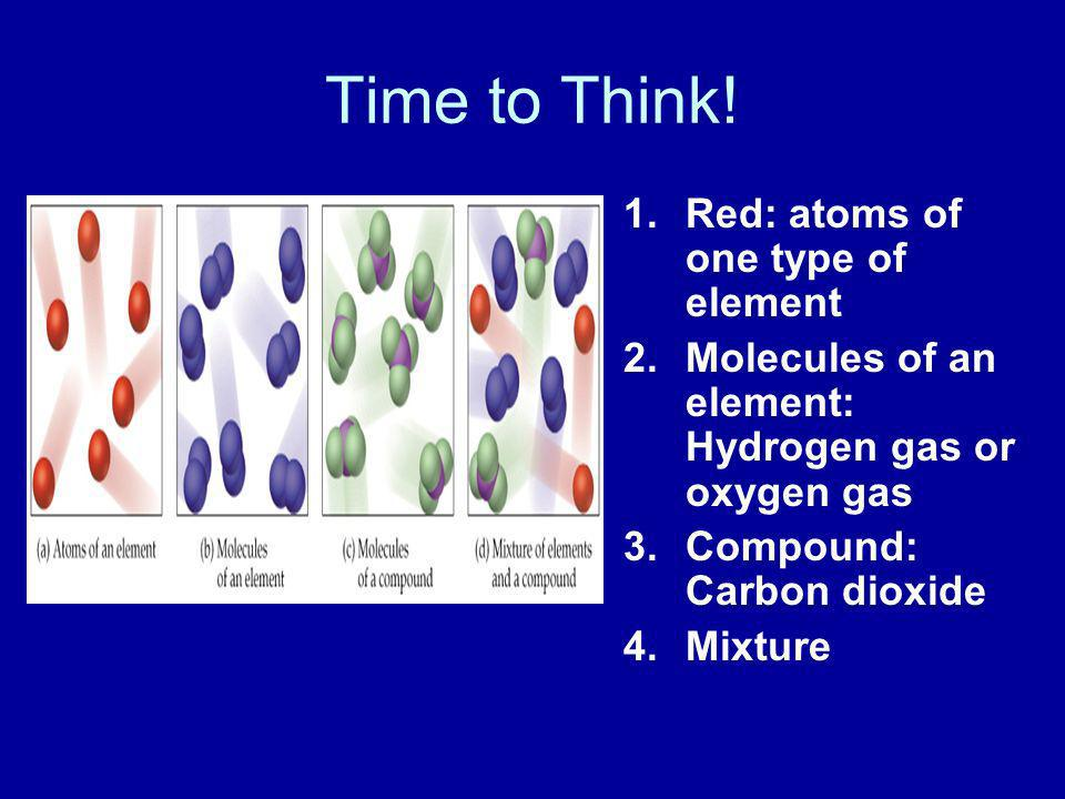 Time to Think! 1.Red: atoms of one type of element 2.Molecules of an element: Hydrogen gas or oxygen gas 3.Compound: Carbon dioxide 4.Mixture