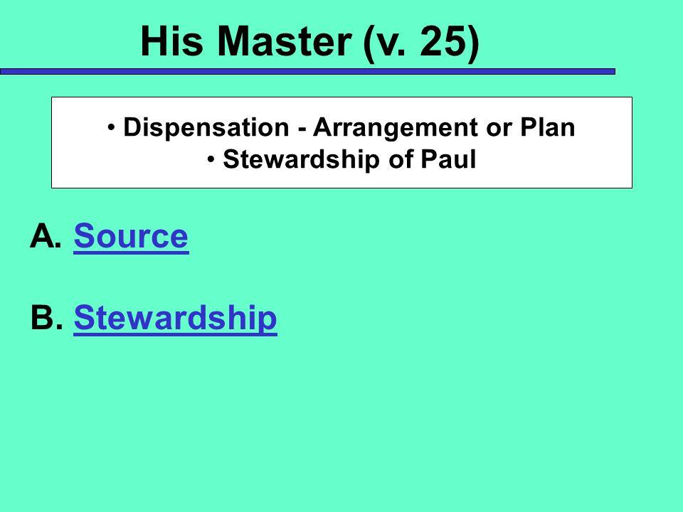 His Master (v. 25) A. Source B. Stewardship Dispensation - Arrangement or Plan Stewardship of Paul