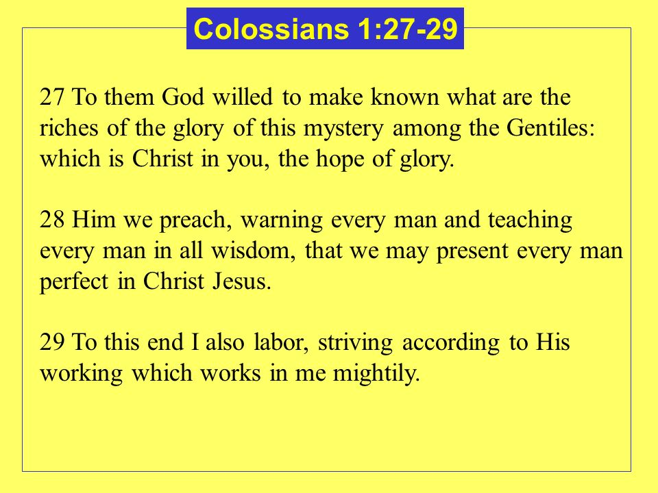 27 To them God willed to make known what are the riches of the glory of this mystery among the Gentiles: which is Christ in you, the hope of glory. 28