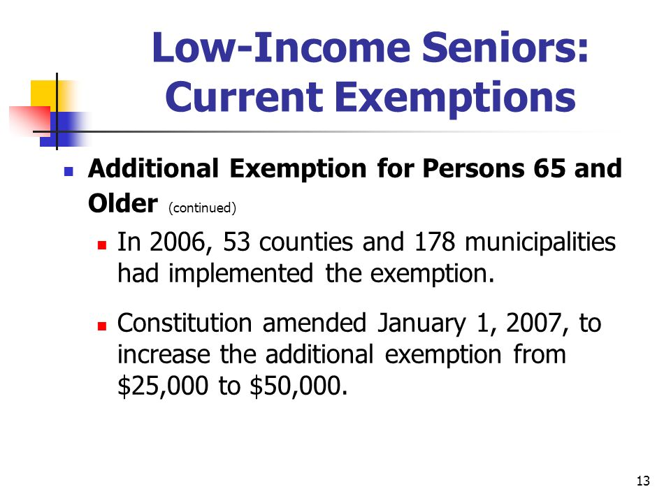 13 Low-Income Seniors: Current Exemptions Additional Exemption for Persons 65 and Older (continued) In 2006, 53 counties and 178 municipalities had implemented the exemption.