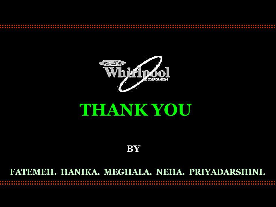 THANK YOU FATEMEH. HANIKA. MEGHALA. NEHA. PRIYADARSHINI. BY