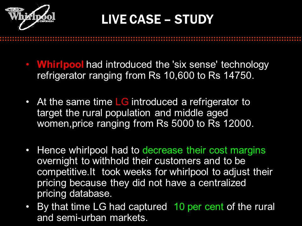 LIVE CASE – STUDY Whirlpool had introduced the 'six sense' technology refrigerator ranging from Rs 10,600 to Rs 14750. At the same time LG introduced