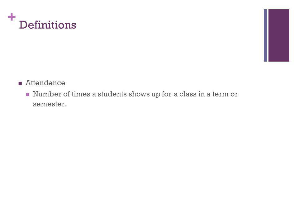 + Definitions Attendance Number of times a students shows up for a class in a term or semester.