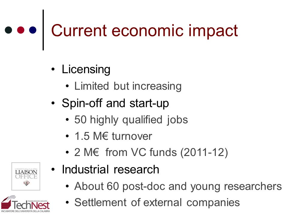 Current economic impact Licensing Limited but increasing Spin-off and start-up 50 highly qualified jobs 1.5 M turnover 2 M from VC funds (2011-12) Ind