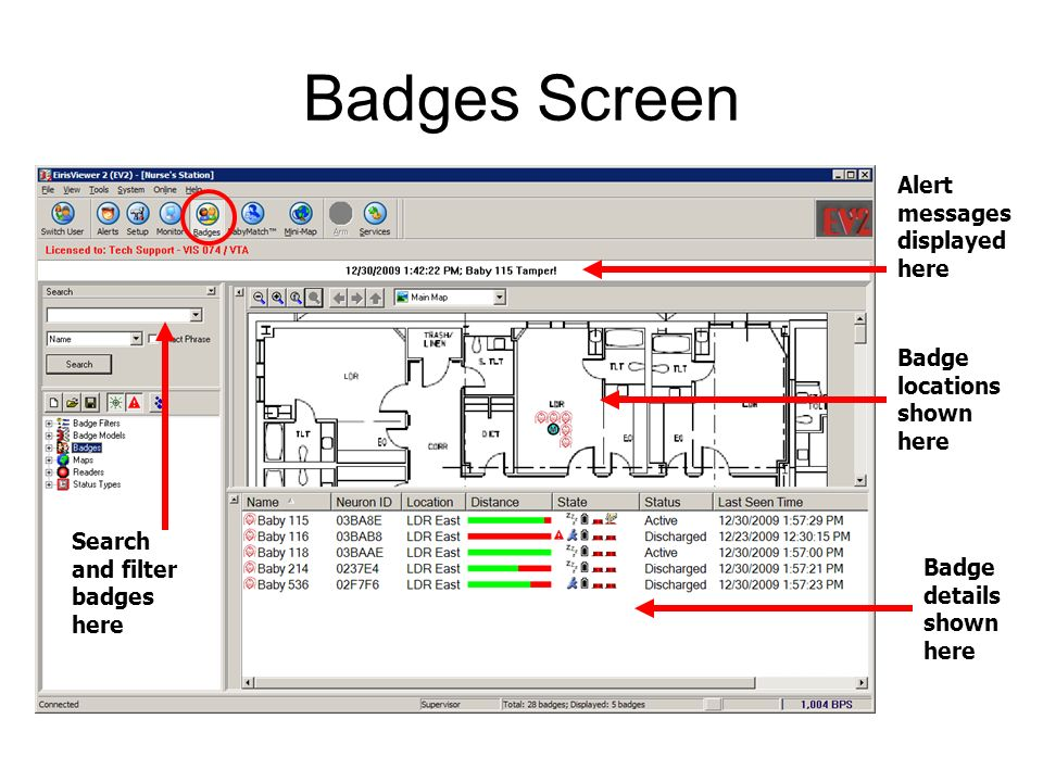 Badges Screen Alert messages displayed here Badge locations shown here Badge details shown here Search and filter badges here