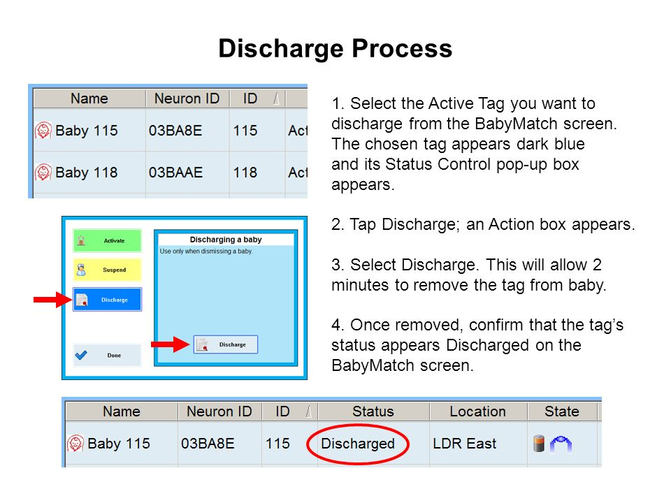 Discharge Process 1. Select the Active Tag you want to discharge from the BabyMatch screen. The chosen tag appears dark blue and its Status Control po