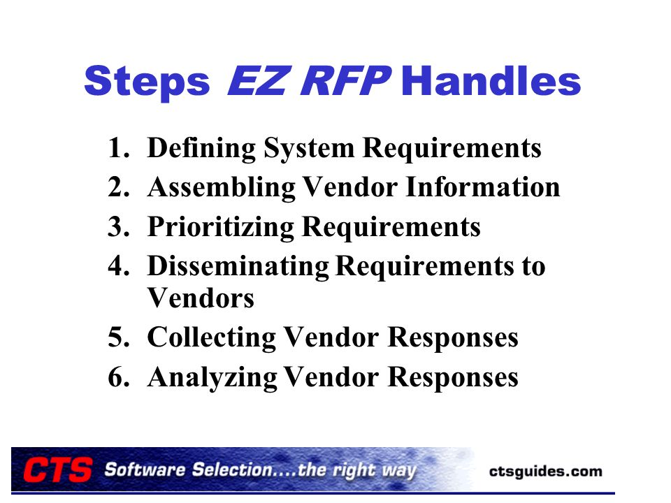 Steps EZ RFP Handles 1.Defining System Requirements 2.Assembling Vendor Information 3.Prioritizing Requirements 4.Disseminating Requirements to Vendors 5.Collecting Vendor Responses 6.Analyzing Vendor Responses