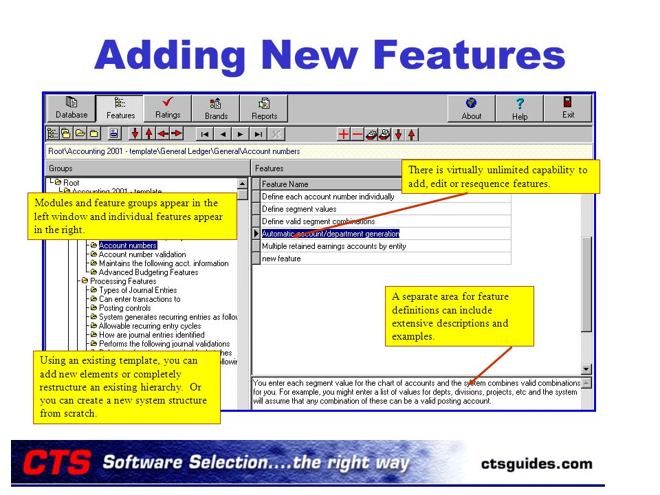 Adding New Features Modules and feature groups appear in the left window and individual features appear in the right.