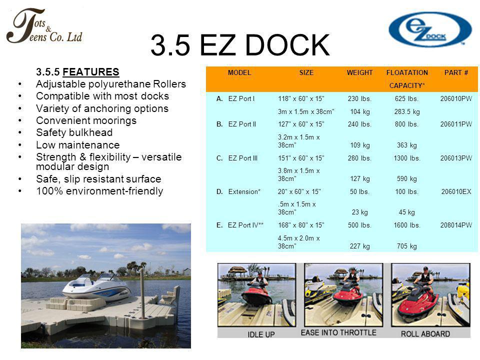 3.5 EZ DOCK 3.5.5 FEATURES Adjustable polyurethane Rollers Compatible with most docks Variety of anchoring options Convenient moorings Safety bulkhead