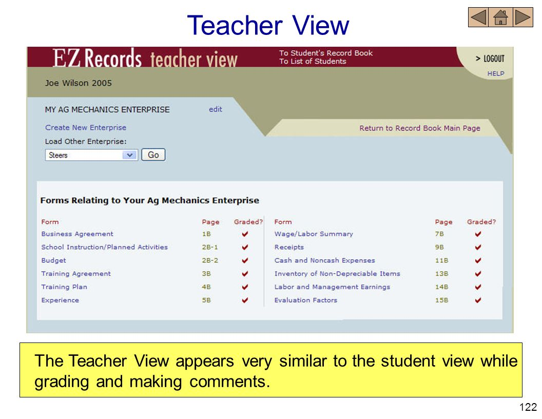 Teacher View The Teacher View appears very similar to the student view while grading and making comments. 122