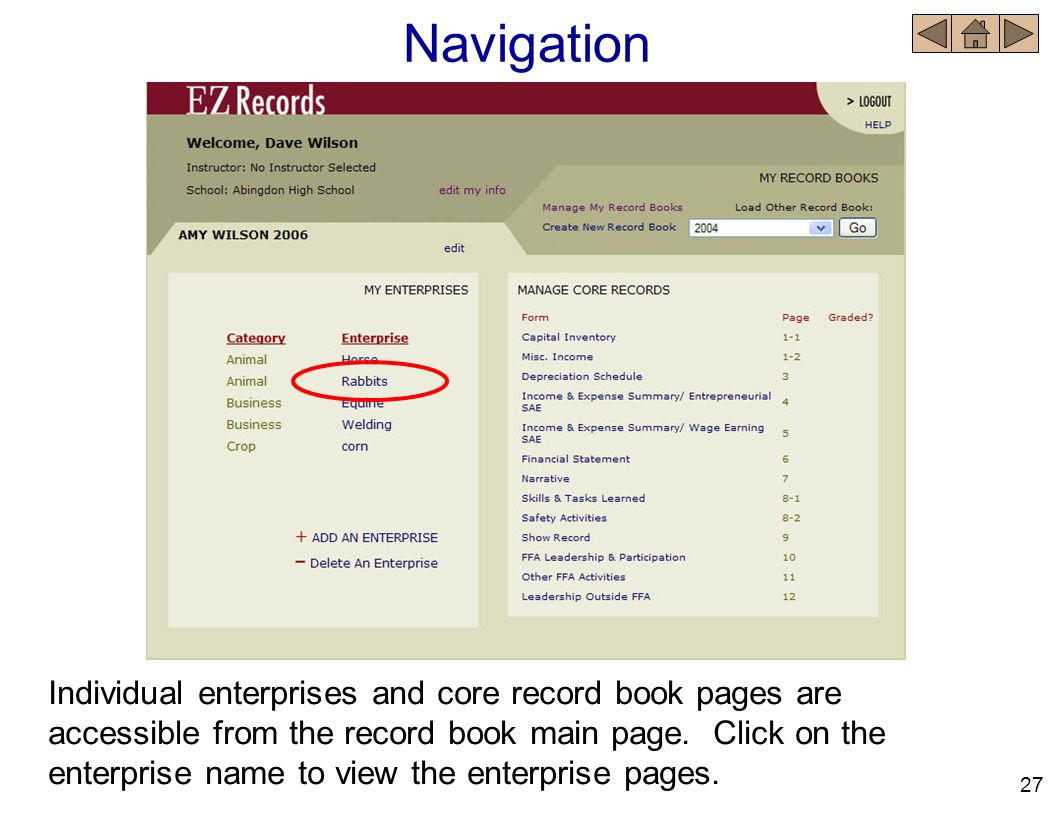 Navigation Individual enterprises and core record book pages are accessible from the record book main page. Click on the enterprise name to view the e