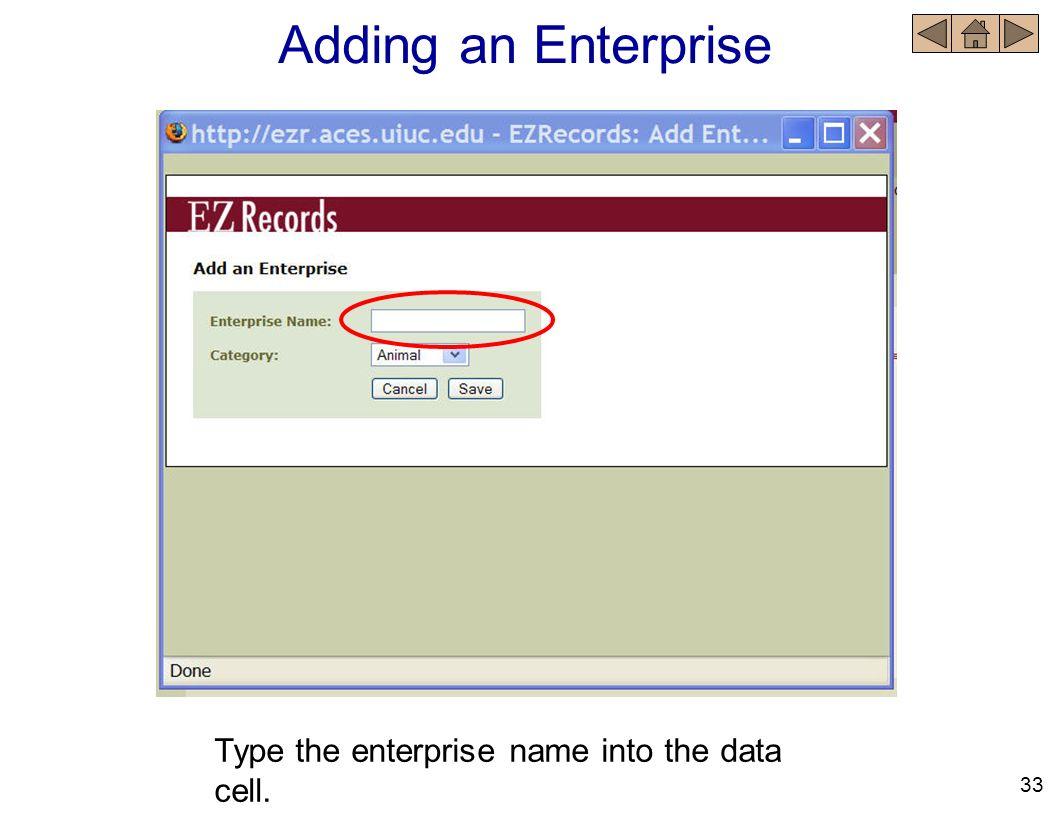 Type the enterprise name into the data cell. Adding an Enterprise 33