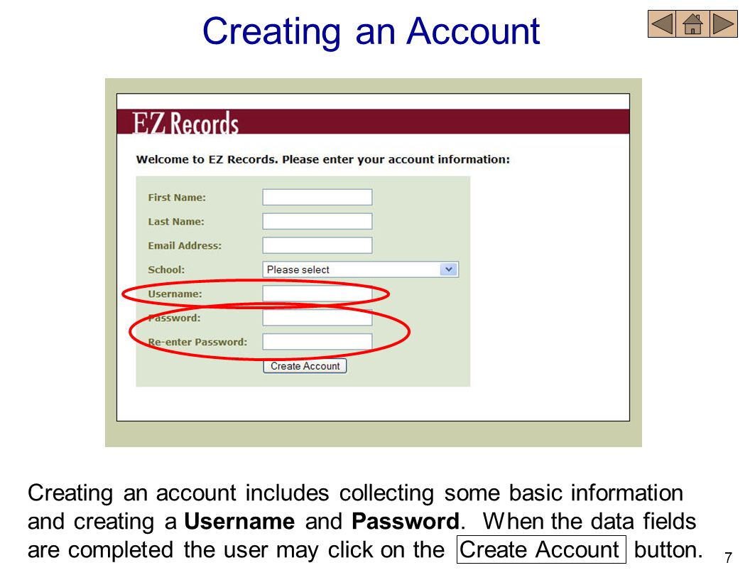 Account Renewal When the Renew.link has been clicked, the Create or Renew an Account window opens.