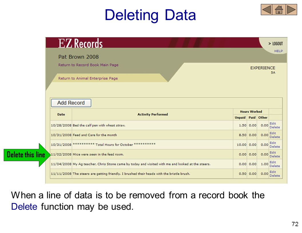 Deleting Data When a line of data is to be removed from a record book the Delete function may be used. 72 Delete this line