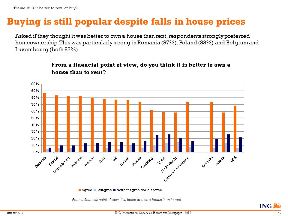 Do not put content in the Brand Signature area October 2012 15 ING International Survey on Homes and Mortgages - 2012 Most survey respondents own their home: more than 50% are owners in 11 countries Germany is the only country in which more of our poll respondents rented than owned.