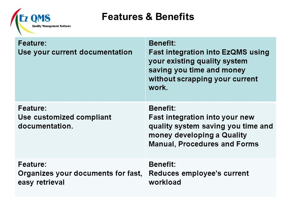 Features & Benefits Feature: Use your current documentation Benefit: Fast integration into EzQMS using your existing quality system saving you time and money without scrapping your current work.