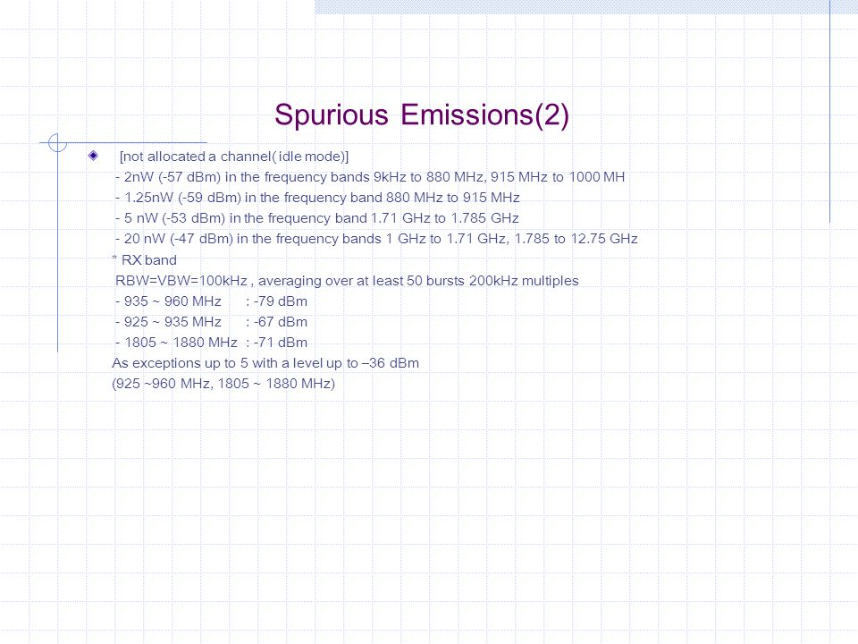 Spurious Emissions(2) [not allocated a channel( idle mode)] - 2nW (-57 dBm) in the frequency bands 9kHz to 880 MHz, 915 MHz to 1000 MH - 1.25nW (-59 d